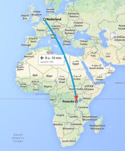 Rwanda tot Nederland Googlemaps